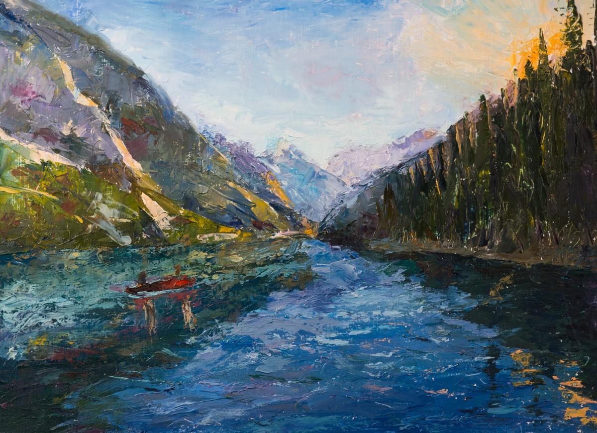 Художник Александр Патраков - Лодка в горах - Масло, картон, 46 x 34