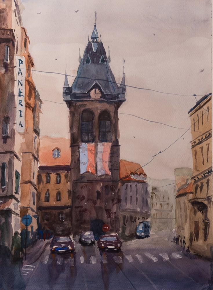 Художник Александр Патраков - Пражская улица - Акварель, бумага 300 гр, 36 x 48