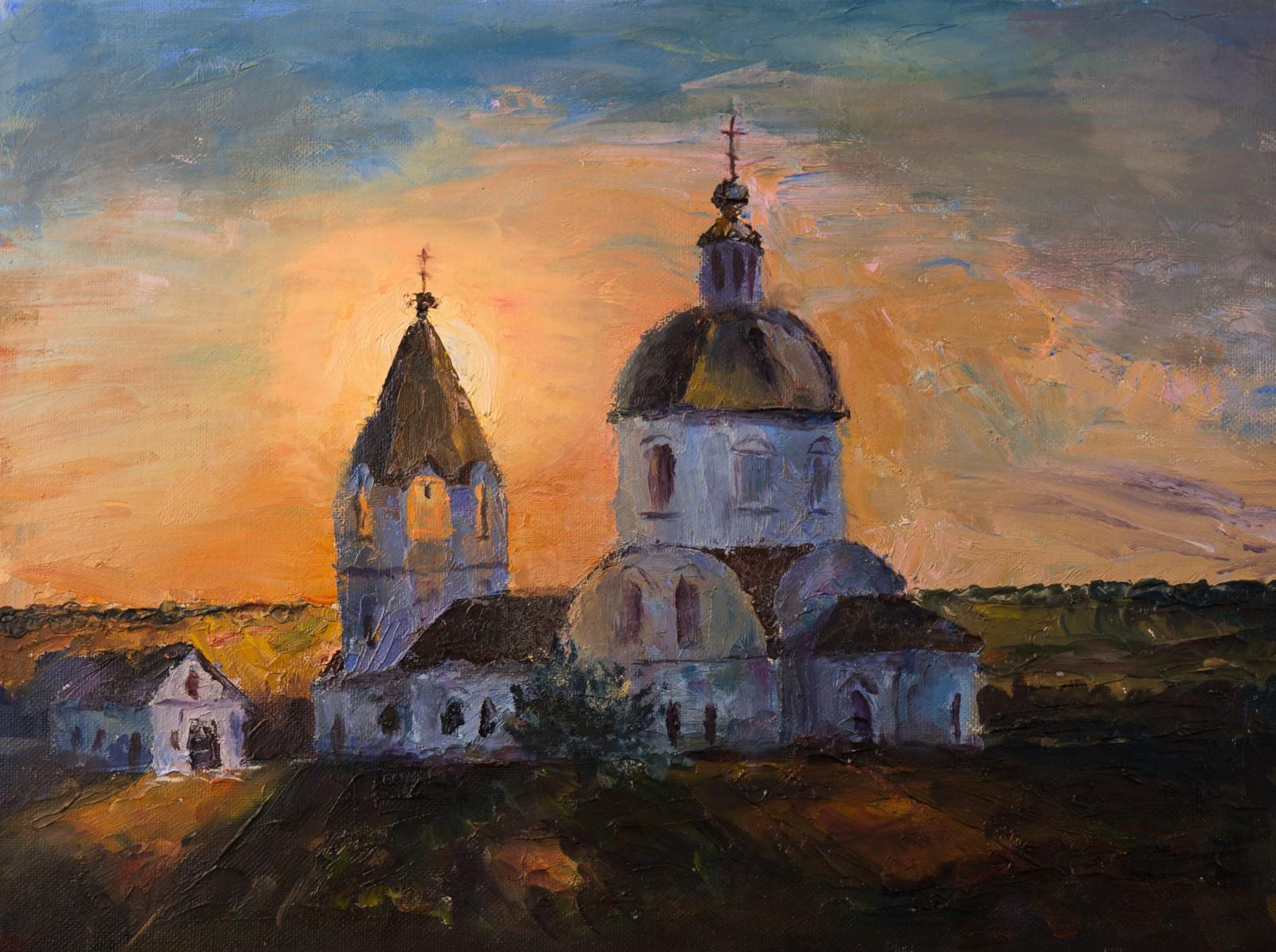 Художник Александр Патраков - Церковь, Богоявленск - Масло, холст на картоне, 40 x 30