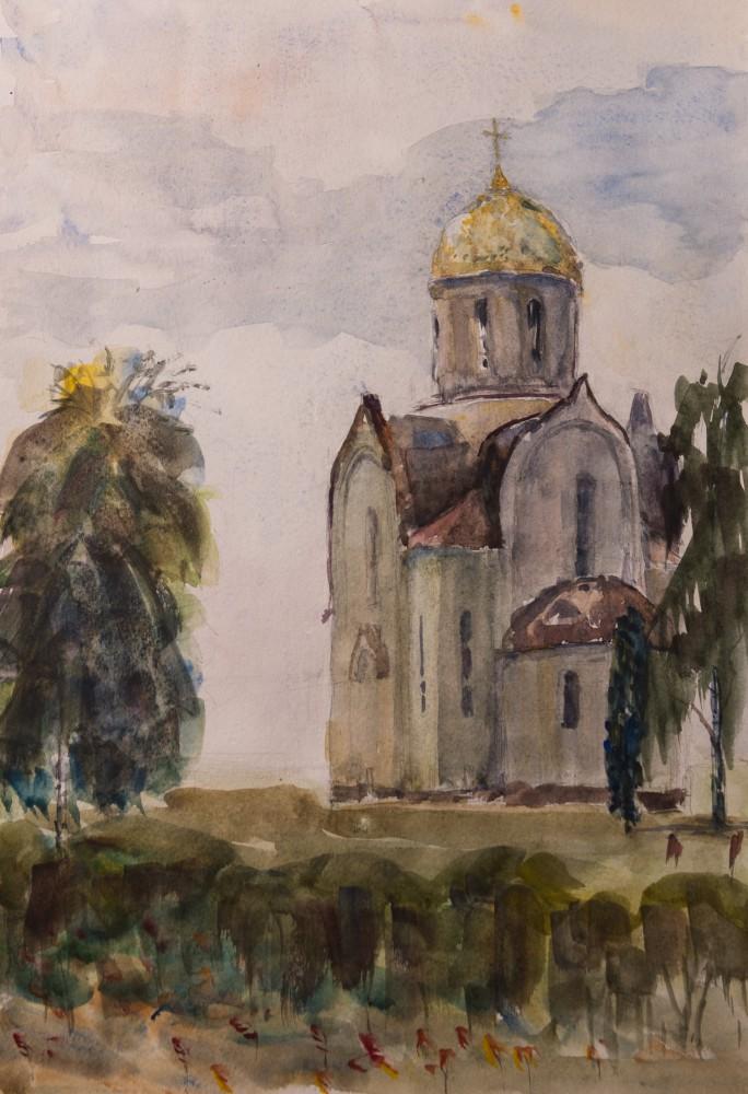 Художник Александр Патраков - Церковь - Акварель, бумага 280 гр, 30 x 43