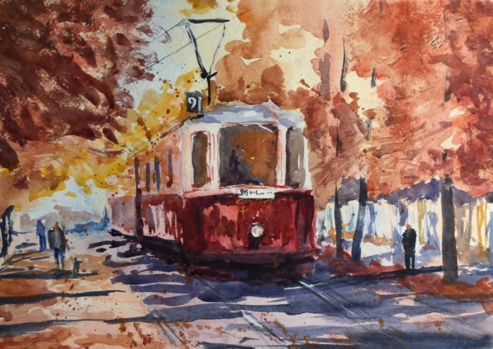 Художник Александр Патраков - Осенний трамвай - Акварель, бумага 300 гр, 40 x 30