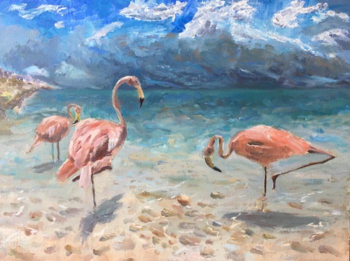 Художник Александр Патраков - Розовые фламинго - Масло, холст на подрамнике, 70 x 50