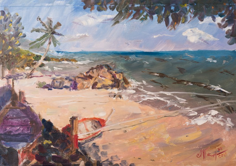 Художник Александр Патраков - Пляж Ланта, Таиланд - Масло, картон, 40 x 30